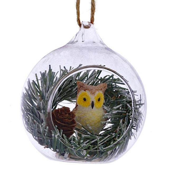 Ёлочное украшение Сова в стеклянном шаре