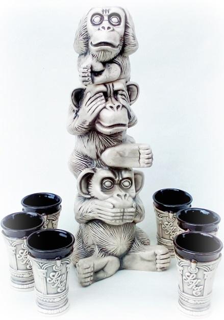 "Набор штоф + 6 рюмок ""Три обезьяны"", 3 вида"