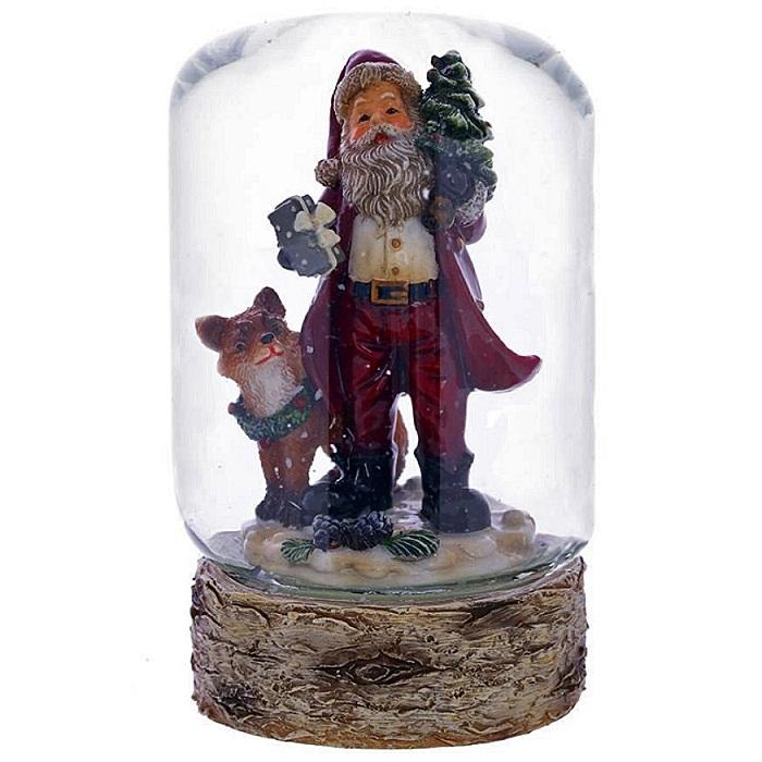 """Стеклянный водяной шар """"Дед Мороз и лиса"""""""