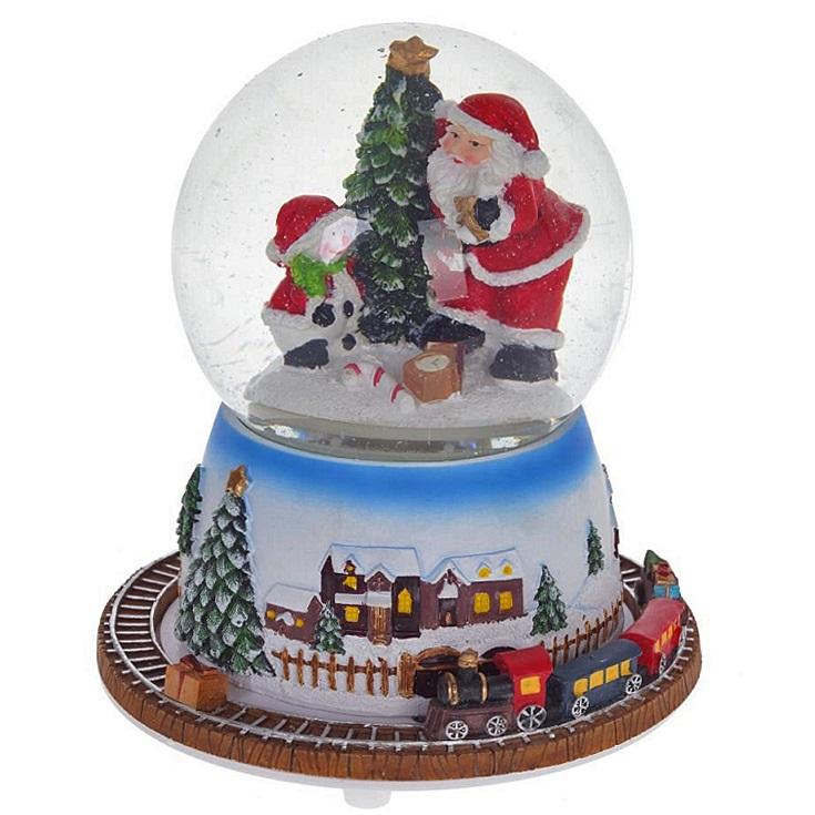 """Новогодний снежный шар с функцией движения и музыкой """"Железная дорога"""""""