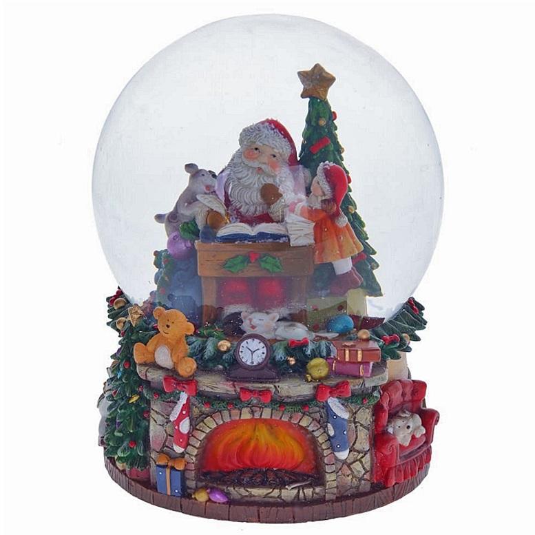 """Водяной шар с музыкой """"Камин с Дедом Морозом"""""""
