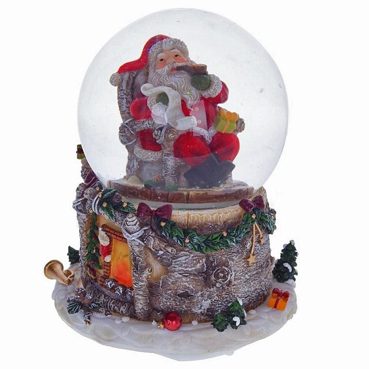 """Водяной шар с музыкой, подсветкой и функцией движения """"Санта в кресле"""""""