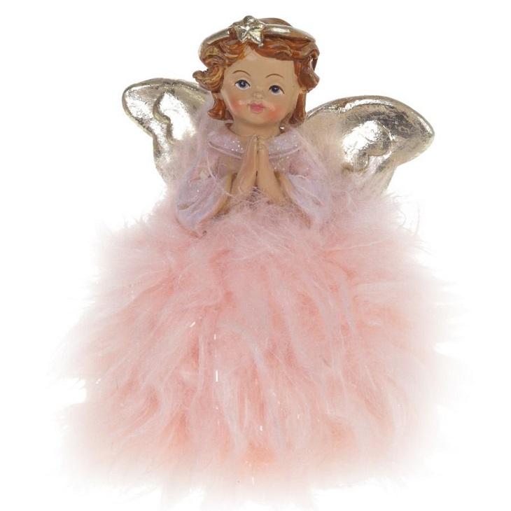 """Рождественский сувенир """"Ангел в розовой шубке"""""""