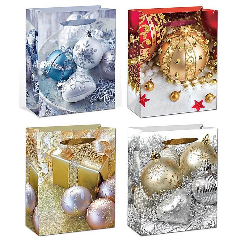 """Новогодний подарочный пакет """"Ёлочные игрушки"""""""