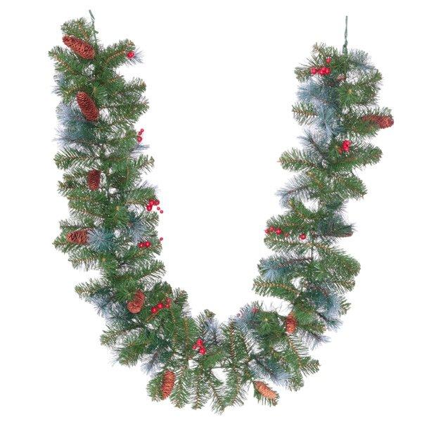 Новогодняя гирлянда с шишками и ягодами, 182 см