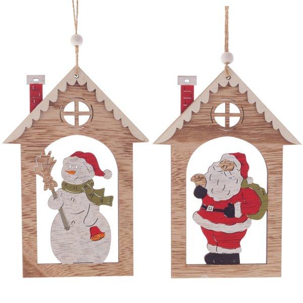 """Деревянная ёлочная игрушка """"Дом со снеговиком/с Дедом Морозом"""""""