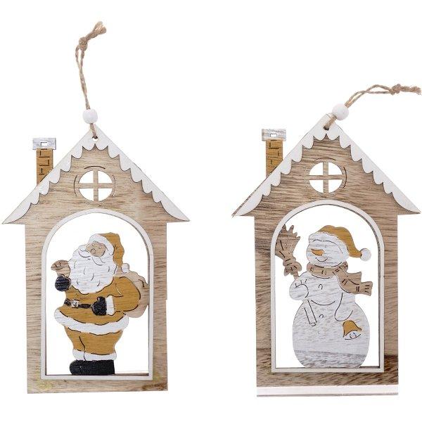 """Деревянная ёлочная игрушка """"Домик со снеговиком/с Дедом Морозом"""""""