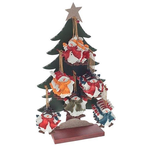 Набор из 36-ти деревянных ёлочных игрушек на ёлке-дисплее
