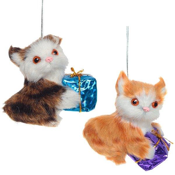 """Ёлочная игрушка """"Котёнок с подарком"""""""