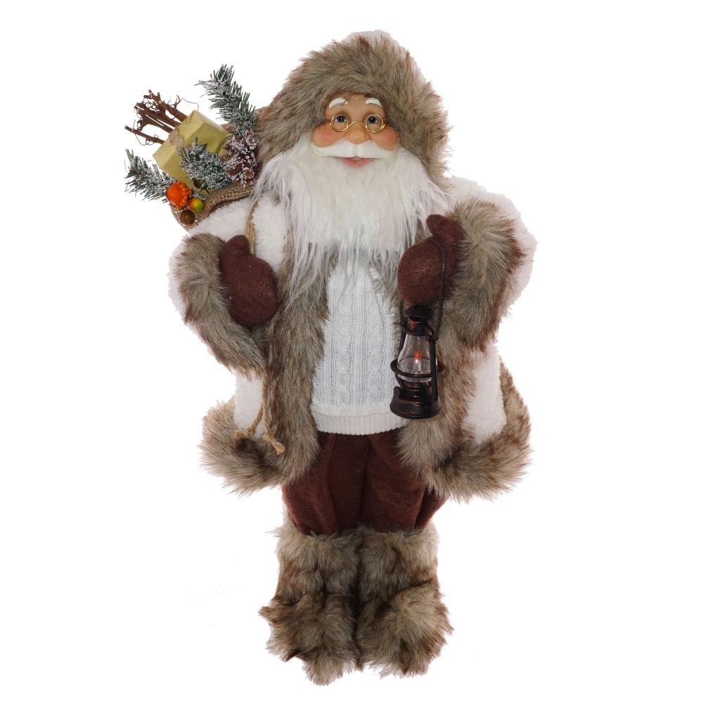 Санта с фонарём и мешком подарков