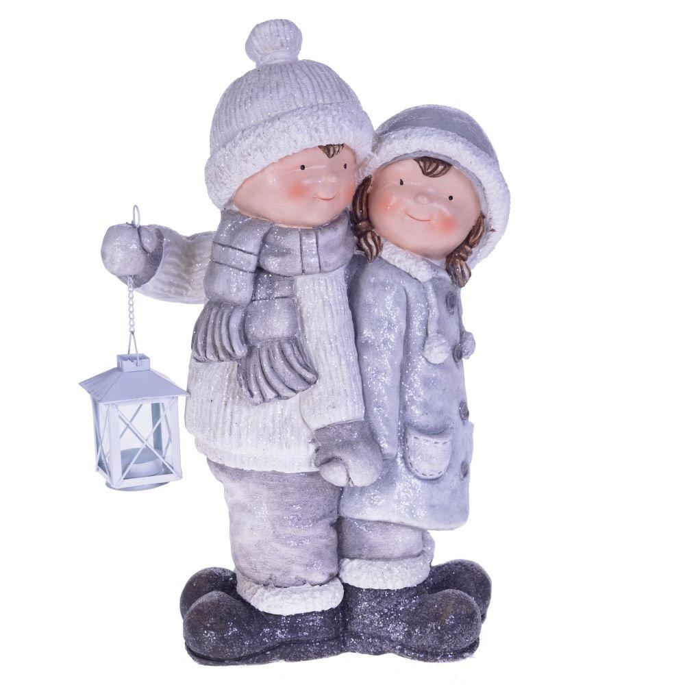 """Фигура """"Мальчик с девочкой"""" бело-серебряная"""