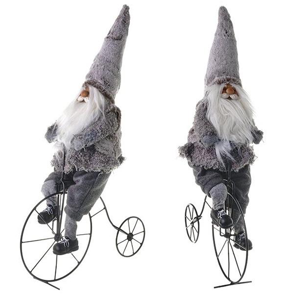 """Мягкая игрушка """"Санта на велосипеде"""" серый"""