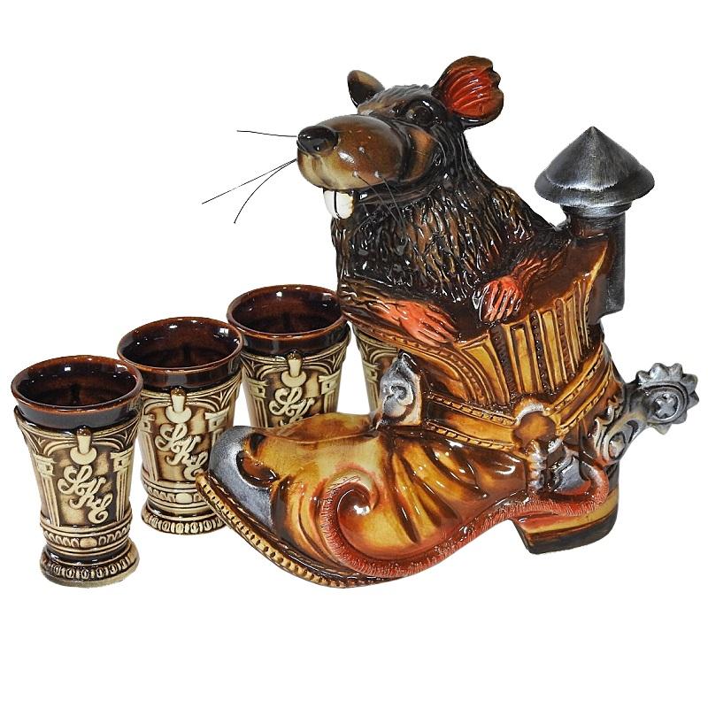 """Подарочный питейный набор """"Крыса в ботинке"""" глазурь"""