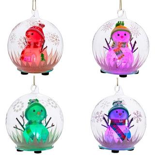 Украшение с подсветкой Снеговик в стеклянном шаре