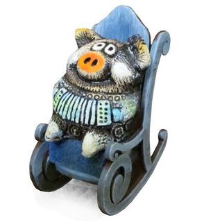 Свинка в кресле-качалке (шамот)