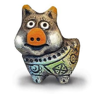 Свинка из шамотной глины