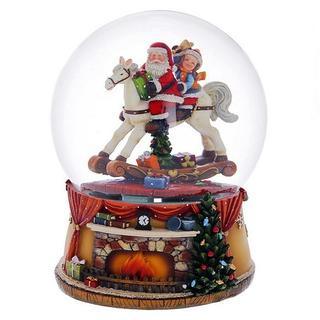 """Стеклянный шар с музыкой и генератором вьюги """"Камин"""""""
