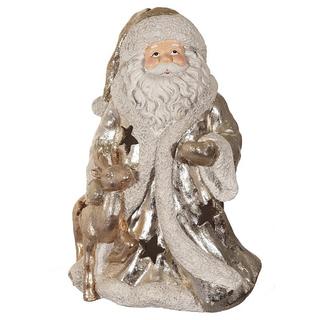 """Фигура с подсветкой """"Дед Мороз"""" бело-серебряный"""