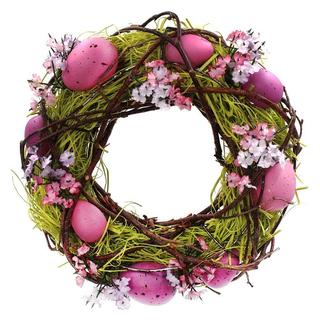 Венок с пасхальными яйцами и цветами
